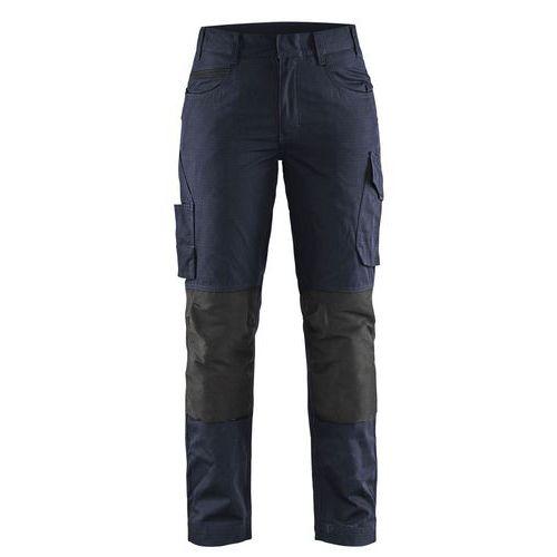 Pantaloni service con stretch donna Blu scuro / nero