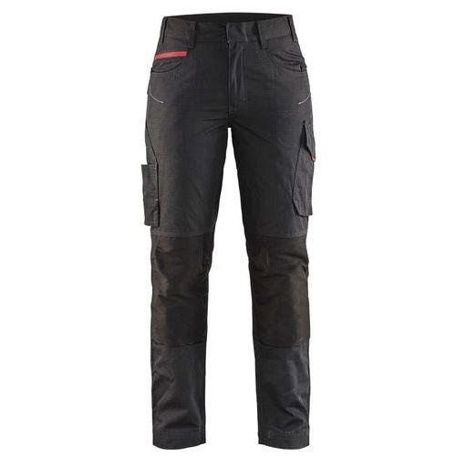 Pantaloni service con stretch donna Nero/Rosso