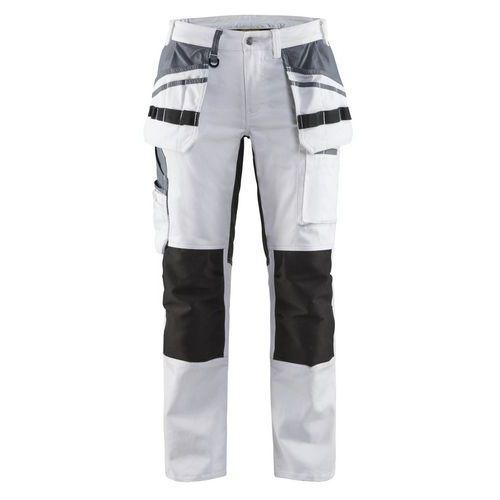 Pantaloni Imbianchino Donna con inserti stretch Bianco nero