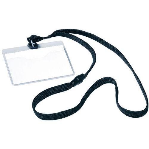 Kit bustina porta-badge e laccetto in tessuto