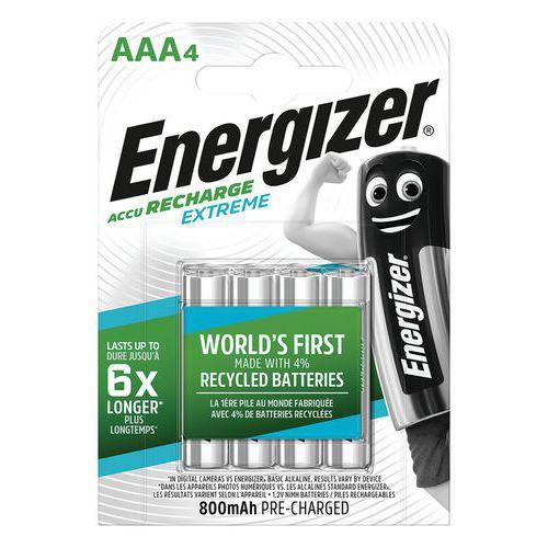 Pila ricaricabile riciclata Extreme - AAA/LR03 - Lotto da 4 - Energizer