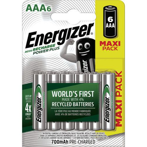 Pila Power Plus AAA precaricata - 700 mAh - Lotto da 6 - Energizer