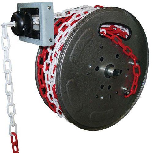Avvolgitore per catena di segnalazione rosso-bianco 20 m - Câble Équipements
