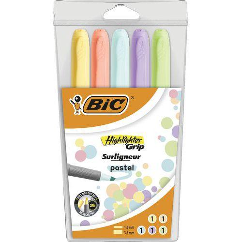 Evidenziatore Highlighter Grip - Pastello - Confezione da 5 colori assortiti - Bic